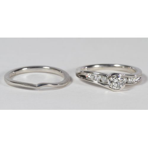 14k White Gold and Diamond Ring Set