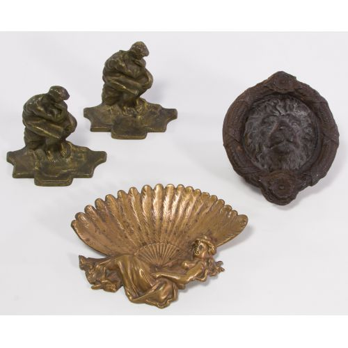 Cast Metal Tray, Bookends and Lion Knocker
