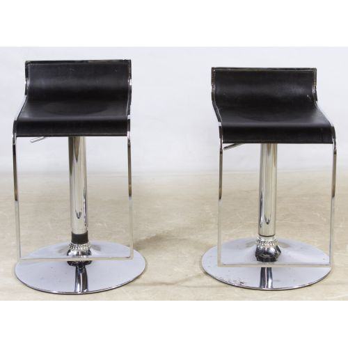 Black Leather and Chrome Hydraulic Piston Bar Stools