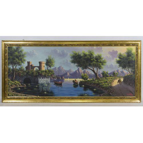 "A. Vella (20th Century) ""Village"" Oil on Canvas"