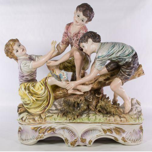 Italian Ceramic Figurine of Children Playing