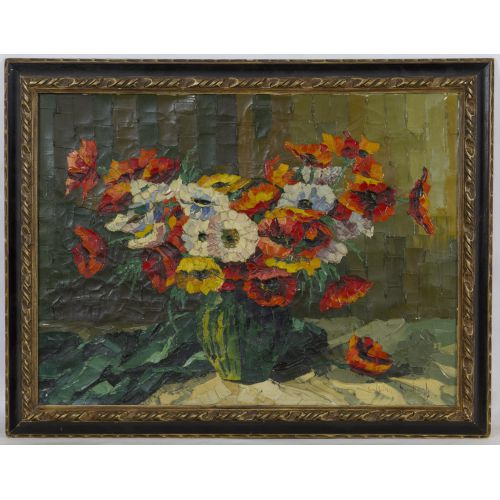 """Balkanyi Balogh (Hungarian, 20th Century) """"Poppies"""" Oil on Canvas"""