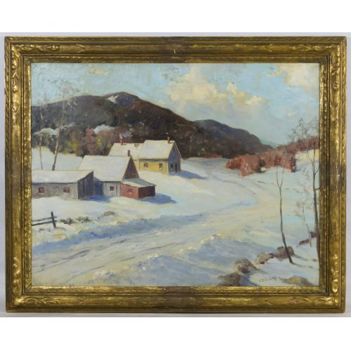"""Charles E. Buckler (American, 1869-1953) """"The Cottage in Winter"""" Oil on Canvas"""