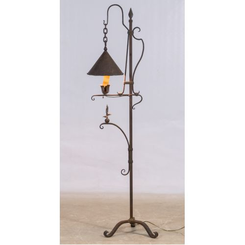 Arts and Crafts Style Wrought Iron Floor Lamp (in the manner of) Samuel Yellin