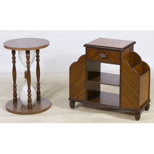Mahogany Magazine Rack and Hour Glass End Tables