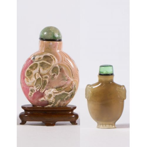 Asian Carved Stone Snuff Bottles