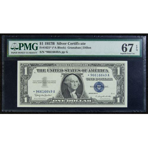 Lot 12: 1957-B $1 Star Silver Certificate Gem Unc. 67 EPQ PMG ...