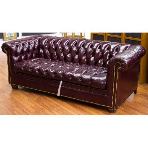 lot 113 tufted leather sleeper sofa leonard auction