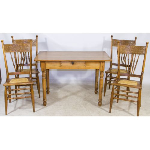 Early American Ash Table and Chairs
