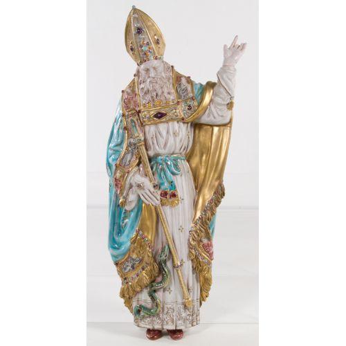 "Eugenio Pattarino (Italian, 1885-1971) ""St Patrick"" Ceramic Statue"