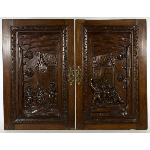 Carved Walnut Stained Poplar Hanging Door Panels