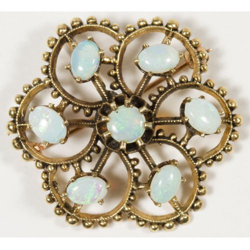 14k Gold and Opal Pin