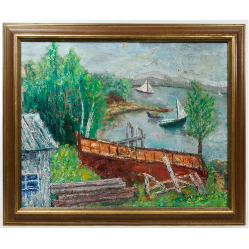 "Philip Evergood (American, 1901-1973) ""On the Lake"" Oil on Canvas"