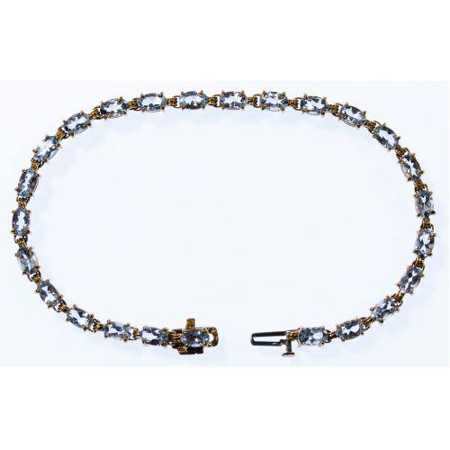 14k Gold and Aqua Marine Bracelet