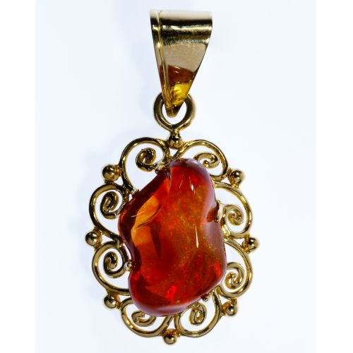 14k Gold and Fire Opal Pendant