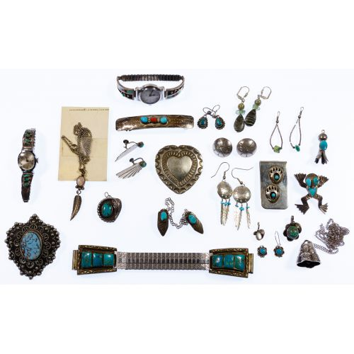 Native American Navajo Silver Jewelry Assortment