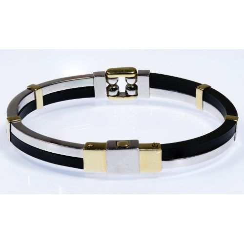 VO 14k Two-tone Gold and Rubber Bracelet