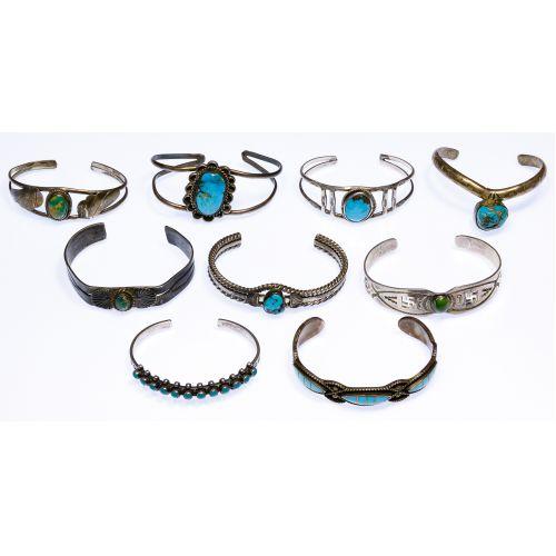 Native American Navajo Silver Cuff Bracelet Assortment
