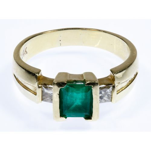14k Gold, Emerald and Diamond Ring