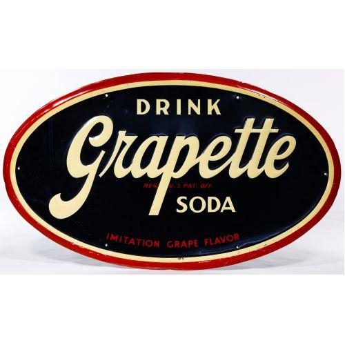 Drink Grapette Embossed Metal Advertising Sign