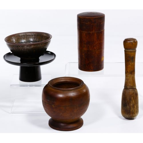 Chinese Tea Bowl, Stand, Caddy, Mortar and Pestle