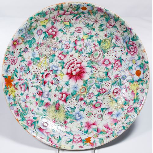 Chinese Ching / Qing Millefiori Famille Rose Plate