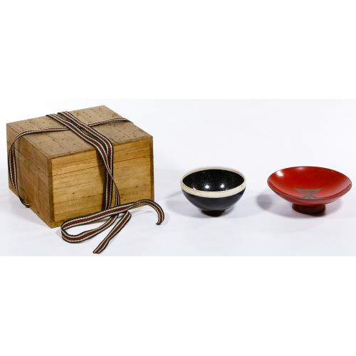 Chinese Oil Spot Tea Bowl and Stand