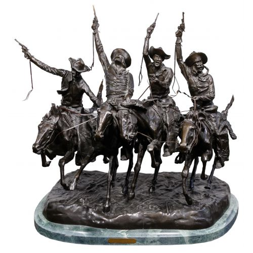 """(After) Frederic Remington (American, 1861-1909) """"Coming Thru the Rye"""" Sculpture"""