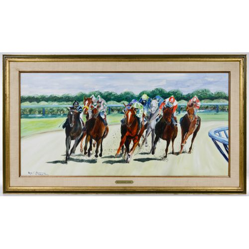 """Leroy E. Sheaner (American, 20th Century) """"1979 Kentucky Derby"""" Oil on Canvas"""