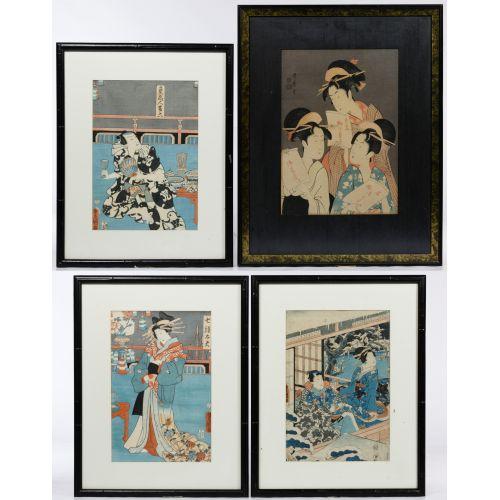 "(After) Kitagawa Utamaro (Japanese, 1753-1806) ""Three Beauties in the Down Town"" Wood Block Print"