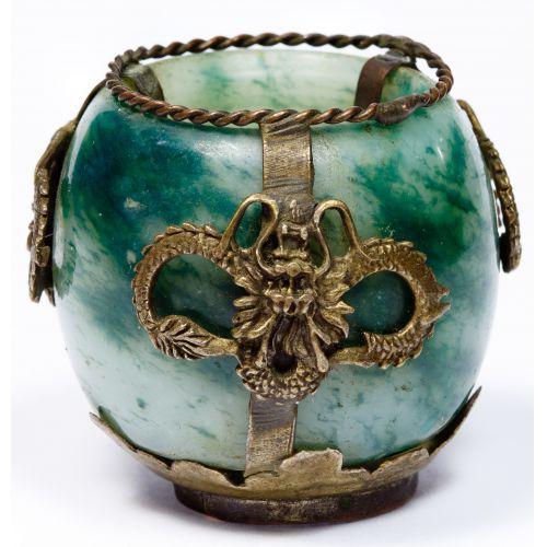 Jadeite Jade and Metal Mounted Small Incense Burner