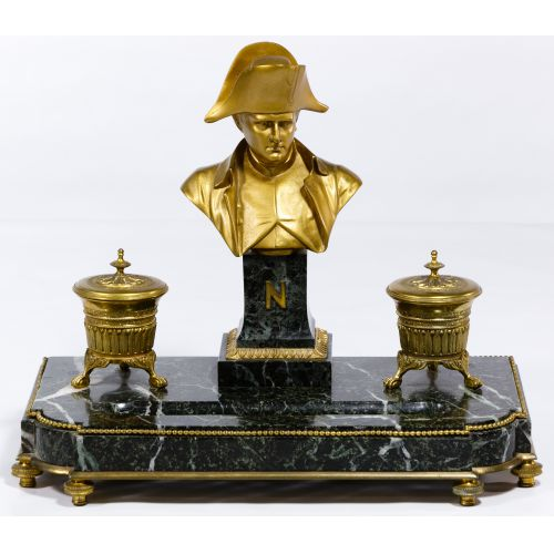 French Marble and Brass Desk Ink Well