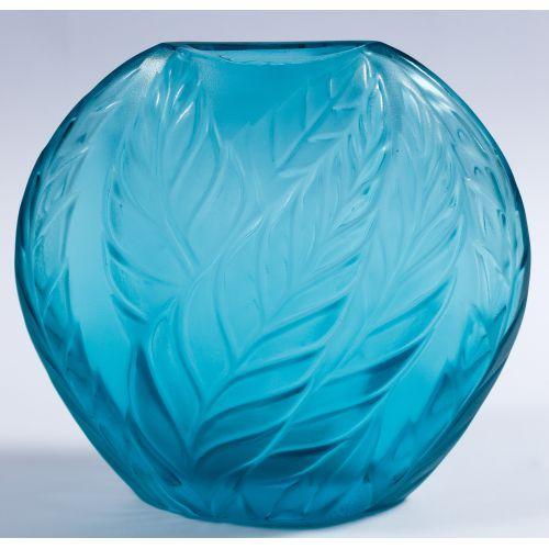 "Lalique Crystal Blue ""Filicaria"" Bud Vase"