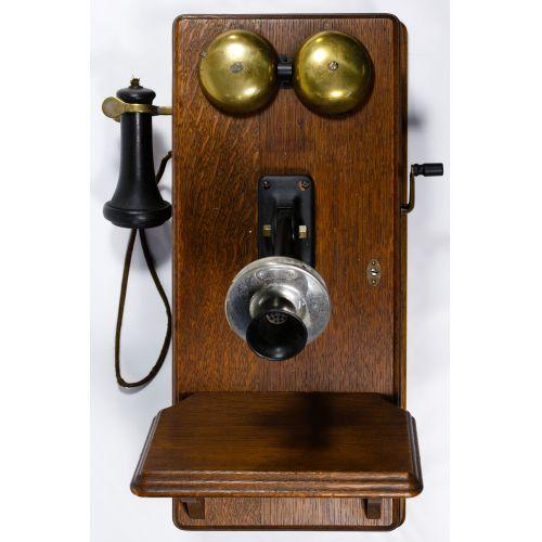 Western Electric Crank Telephone in Oak Case