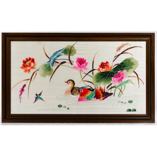 Oriental Silk Embroidered Panel of Mandarin Ducks and Lotus