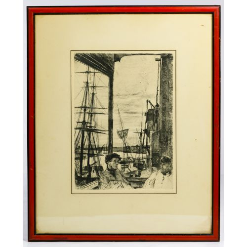 "(After) James Abbott McNeill Whistler (American, 1834-1903) ""Rotherhithe"" Etching"