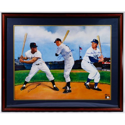 Mickey Mantle, Duke Snider and Willie Mays Autographed Print