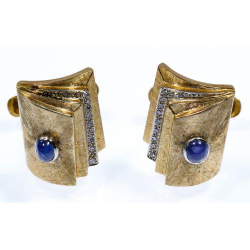 14k Gold, Star Sapphire and Diamond Cuff Links