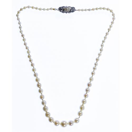 14k Gold, Pearl and Diamond Necklace