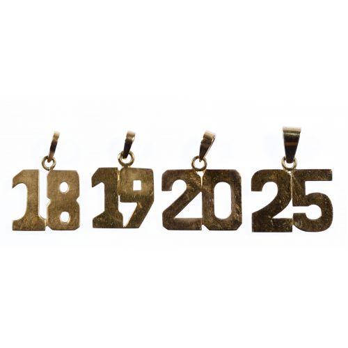 14k Gold Number Pendants