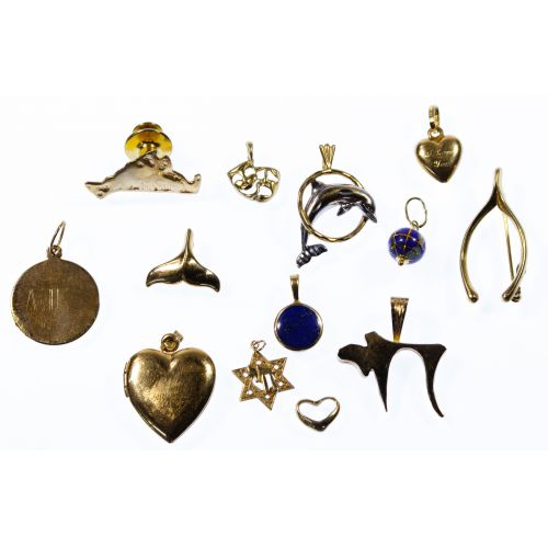 14k Gold Pendant and Pin Jewelry Assortment