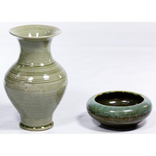 Korean Celadon Vase and Bowl