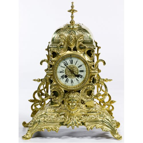 Dostal French Louis XVI Brass Mantel Clock