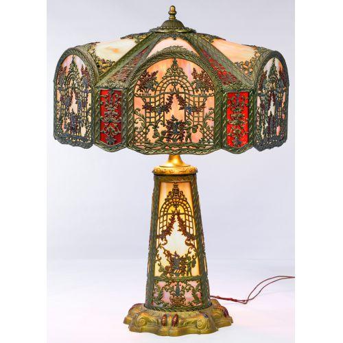 Northwest Art Shade Co. Slag Glass Table Lamp