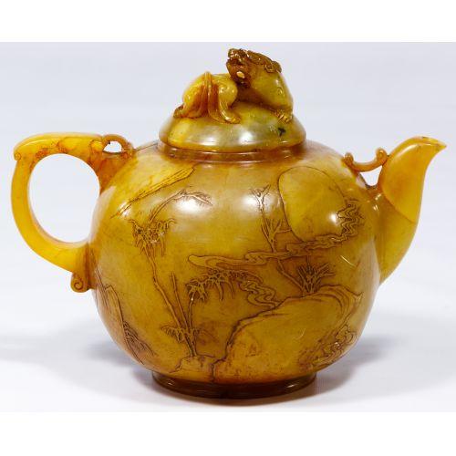 Asian Carved Jadeite Jade Tea Pot