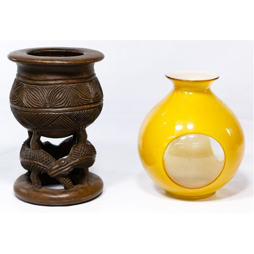 Asian Carved Wood Stand and Art Glass Vase
