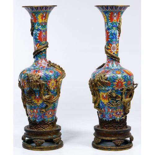 Asian Cloisonne Floor Vases