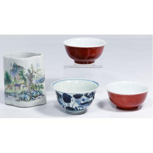 Chinese Bowl and Brush Pot Assortment