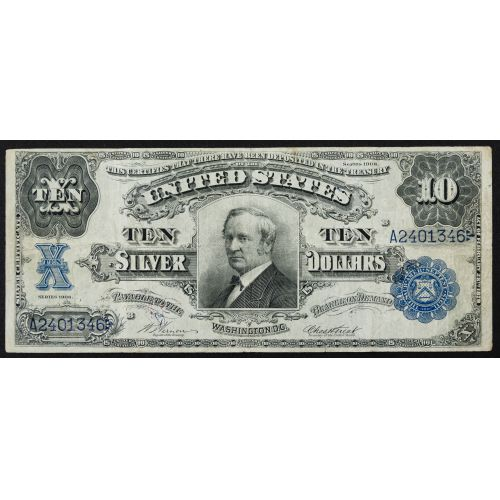 """1908 $10 """"Tombstone"""" Silver Certificate VF"""