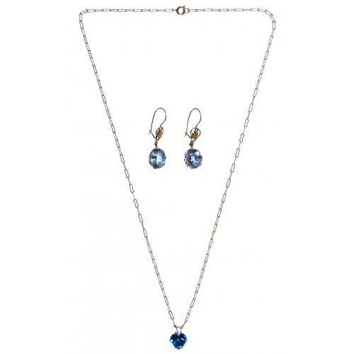 14k Gold and Light Blue Gemstone Pendant and Earrings